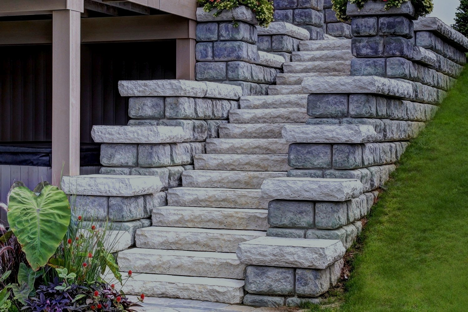 Stone Staircase and Retaining Wall Company Grand Rapids MI - ProMowLandscape.com